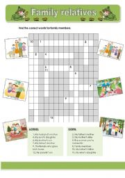 English Worksheet: Family relatives crosswords