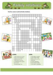 English Worksheet: Family relatives crosswords