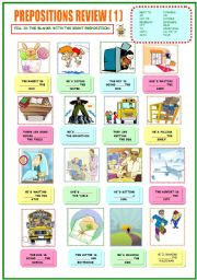 English Worksheet: Review of prepositions