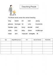 English worksheet: Adjectives to Describe People