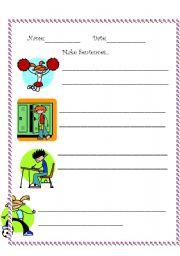 English Worksheets: Make Sentences