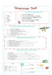 English Worksheet: Grammar Test - Elementary (3 pages)