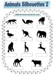 English Worksheets: Animals Sihouettes 2