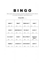 English Worksheets: BINGO GUESSING GAME