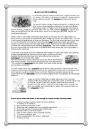 English Worksheet: Black Culture in America- Reading Comprehension (1)