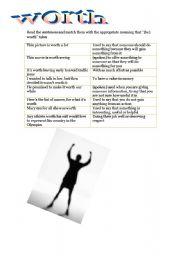 English Worksheets: (be) worth