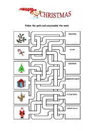 English Worksheet: Follow the path and unscramble the word
