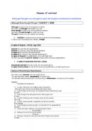 English Worksheet: Clauses of contrast