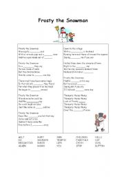 English Worksheet: FROSTY THE SNOWMAN GAP FILL