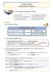 English Worksheet: Simple Past - Inference of  Use and  Affirmative Form of Reg. and Irregular verbs + Practice