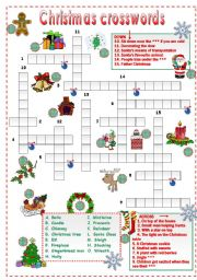 English Worksheet Christmas Crossword For Beginners
