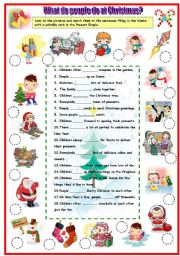 English Worksheets: What do people do at Christmas?