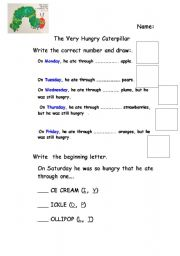 English teaching worksheets: The very hungry caterpillar