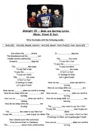 English Worksheets: Midnight oil - beds are burning
