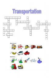 English Worksheets: Transportation Crossword