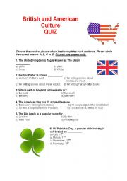 English Worksheet: British and American culture QUIZ
