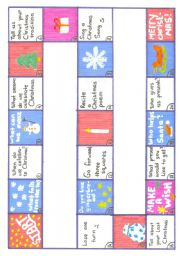 English Worksheet: Board game for CHRISTMAS
