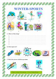 winter sports esl worksheet by veronika74. Black Bedroom Furniture Sets. Home Design Ideas