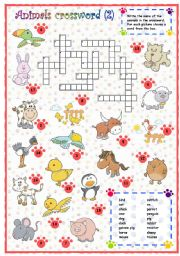 English Worksheet:  Animals crossword (2 of 3)