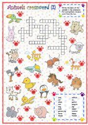 English Worksheets:  Animals crossword (2 of 3)
