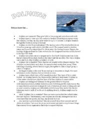 English Worksheets: some amazing facts about dolphins