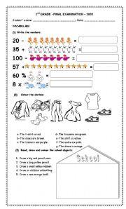 Test 2nd Grade - ESL worksheet by Paola_