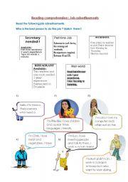 English Worksheets: Jobs reading advertisements