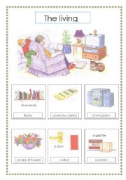 English Worksheets The Living Room Voc List 2 Sheets