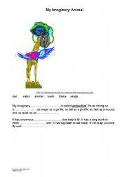 English Worksheets: My Imaginary Animal