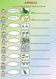 English Worksheets: Animals and that or those