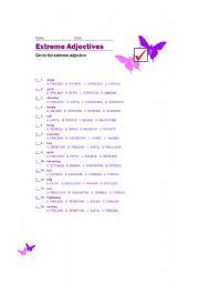 English Worksheet: Extreme adjectives-KEY