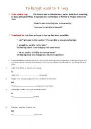 English Worksheet: to be/get used to