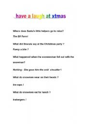English Worksheets: have a laugh at xtmas