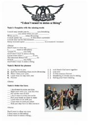 English Worksheet: I don�t want to miss a thing - Aerosmith