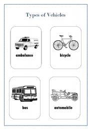 English worksheet: Types of vehicle (1)