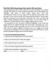 English Worksheets: Ancient Egyptians