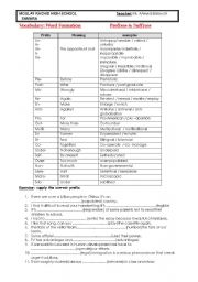 English Worksheet: prefixes and suffixes