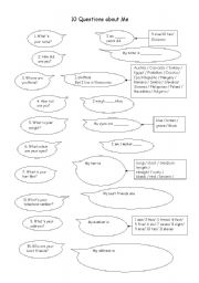 English Worksheets: 10 Questions about Me