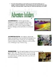 English Worksheets: Adventure holidays