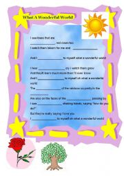 English Worksheets: What a Wonderful World gapfill