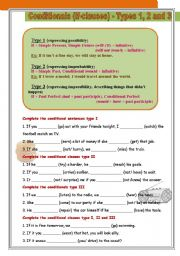 English Worksheets: Conditional clauses