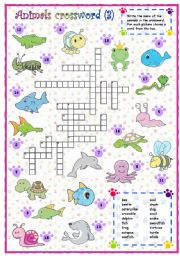 English Worksheets: Animals crossword (3 of 3)