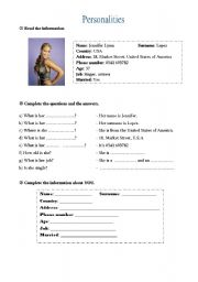 English Worksheets: Jennifer Lopez