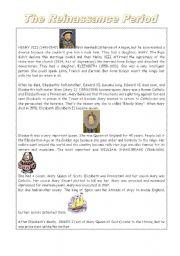 English worksheet: The Reinassance Period