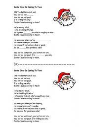 Santa Claus Is Coming To Town Lyrics Sheet Santa claus is comming to ...