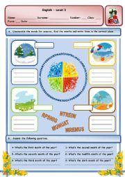 English Worksheet: SEASONS, MONTHS AND ORDINAL NUMBERS