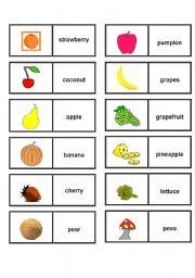 English worksheet: FRUIT & VEGETABLES DOMINOES
