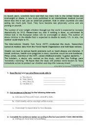 English Worksheet: Teenage Obesity - written test
