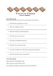 forrest gump worksheet furthermore Forrest Gump Movie Worksheet