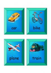English Worksheet: Flashcards - SET 1  (transport)